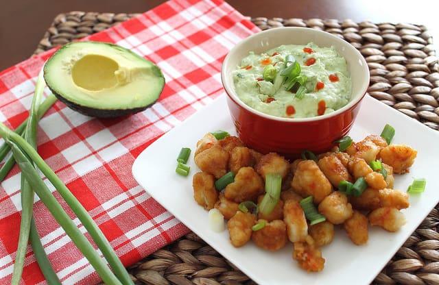 Kara-Age Popcorn Shrimp with Avocado Cilantro Dip