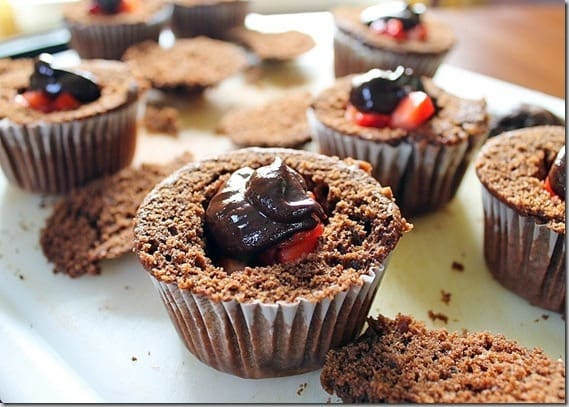 Chocolate filled strawberry cupcakes