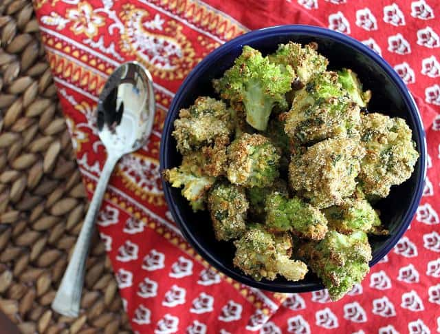 Curry flavored, crispy roasted broccoflower bites are a cross between broccoli and cauliflower.