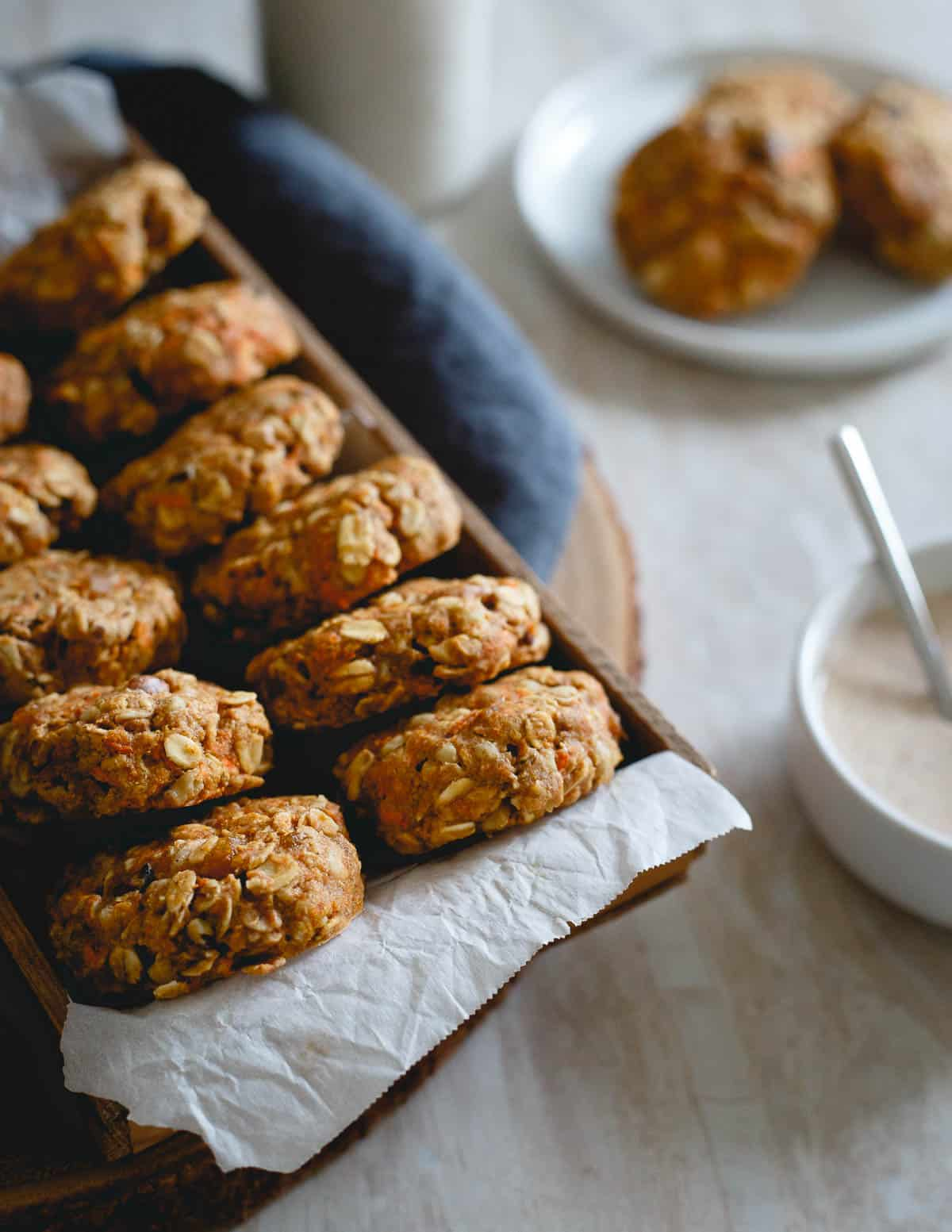 These healthy carrot cake cookies are made with oats, whole wheat flour and all the add-ins you love from carrot cake.