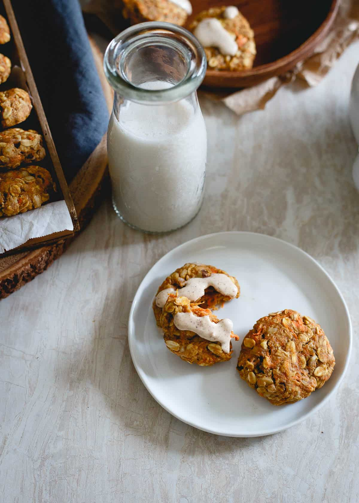 These healthy carrot cake cookies have no butter, no added sugar and are chock full of healthy wholesome ingredients.
