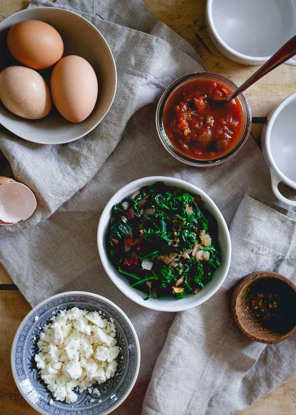 Simple ingredients make this kale feta egg bake an easy weeknight dinner option.