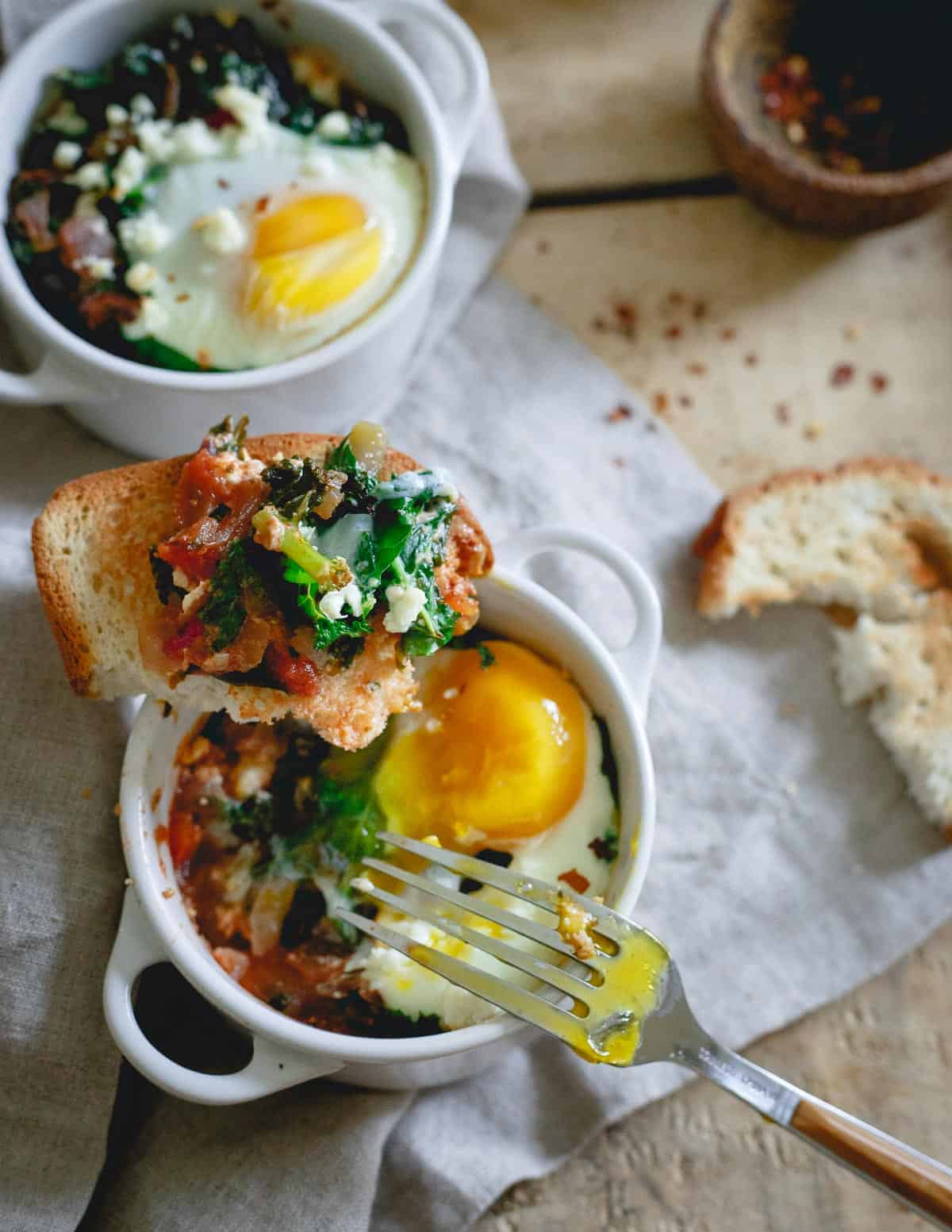 The possibilities are endless with this kale feta egg bake. It's an easy dinner or savory breakfast easily adapted to whatever you have on hand.