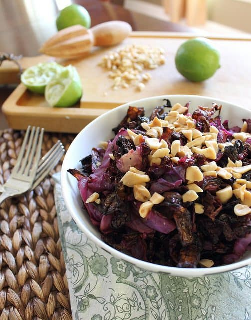 Roasted Cabbage with Lime Peanut Sauce