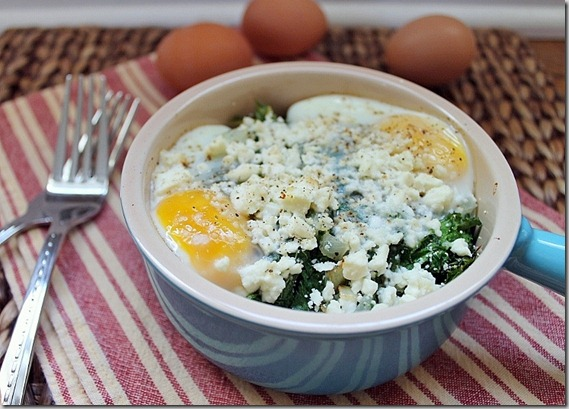Baked Eggs with Kale and Feta