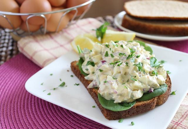 A creamy egg salad with dijon mustard