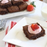 Chocolate coconut brownies with strawberry cream cheese frosting