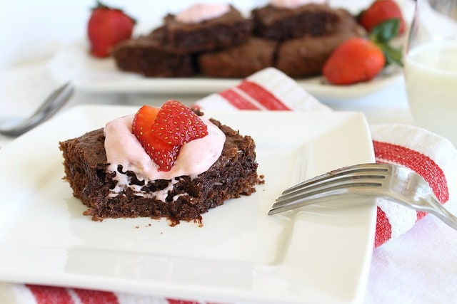 Chocolate coconut brownies with strawberry frosting are a fudgy decadent treat perfect for Valentine's Day.