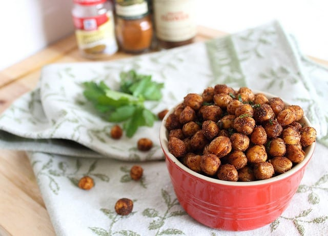 Cinnamon spiced roasted chickpeas are a fun and healthy way to snack and a great addition to salads!