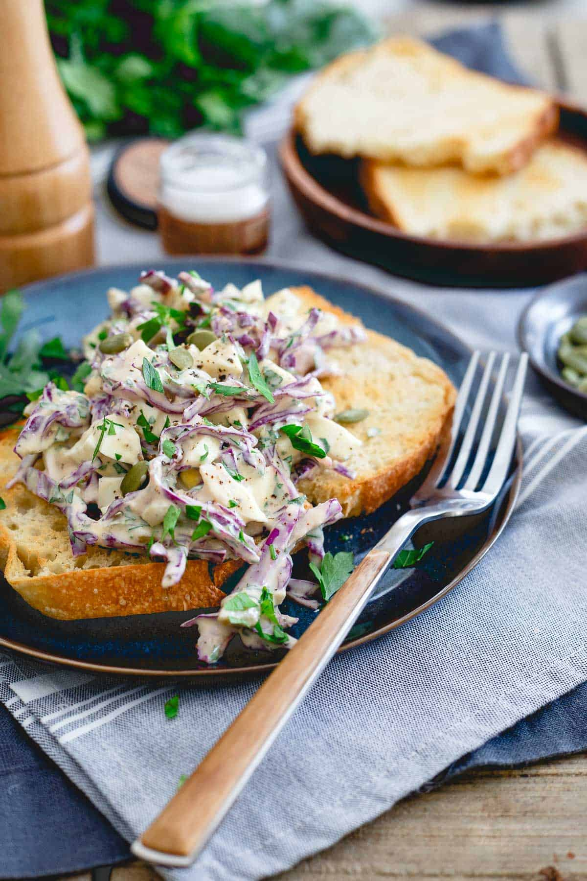 A creamy egg salad made with Greek yogurt and dijon mustard to keep it on the healthier side without any loss of flavor!