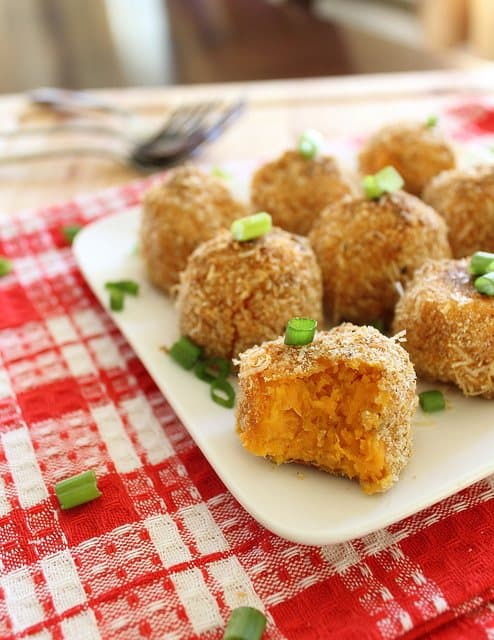 Goat cheese sweet potato puffs