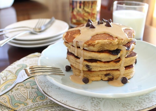 Healthy peanut butter chocolate chip pancakes - try a stack this weekend for breakfast!