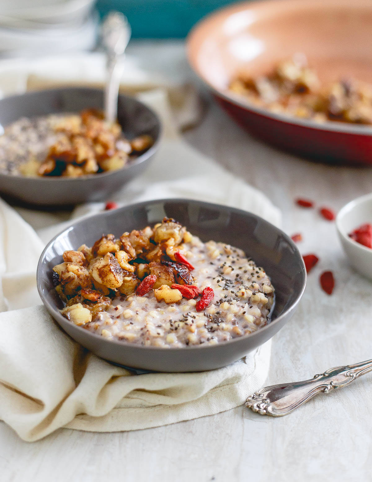 Warm quinoa cereal topped with caramelized bananas top warm quinoa cereal also easily made with buckwheat with a caramelized banana topping ccuart Choice Image