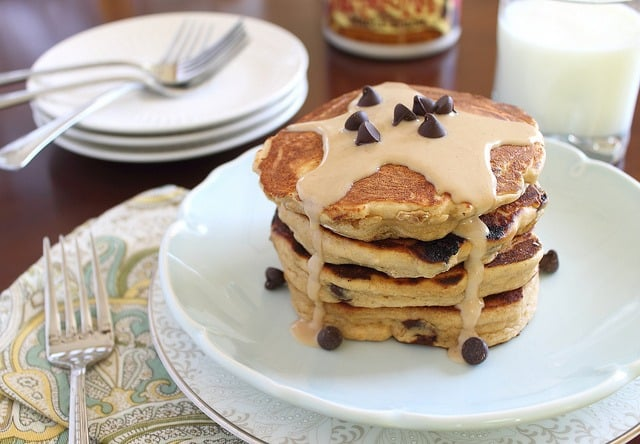Whole wheat peanut butter chocolate chip pancakes are like dessert for breakfast! This fluffy, doughy and moist stack is what pancake dreams are made of!
