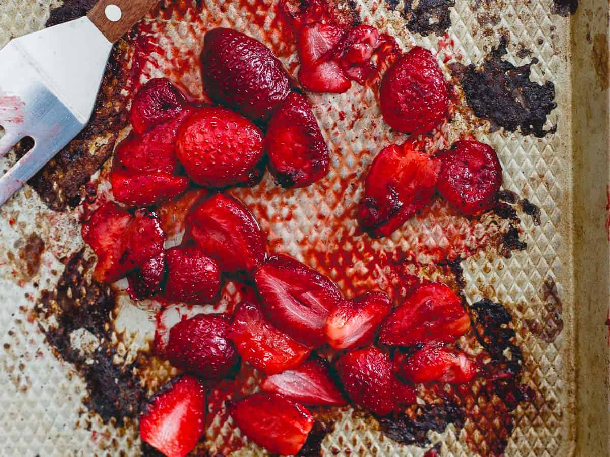 Roasting strawberries brings an added sweetness to this milkshake, perfect for Valentine's Day and spring!