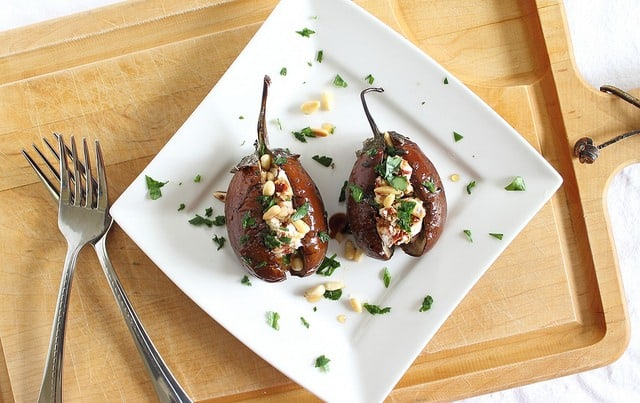 Roasted eggplants with goat cheese stuffing