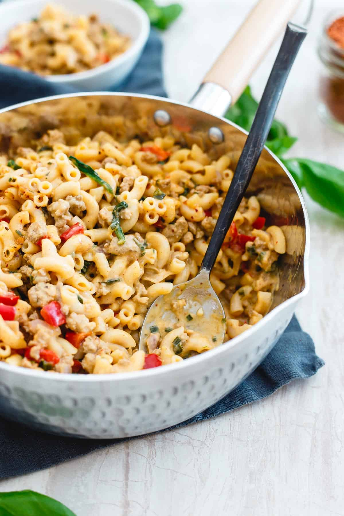 Turkey skillet mac and cheese is creamy and decadent tasting but still an easy and healthy dinner you can have ready in just 30 minutes with only one dirty pot!