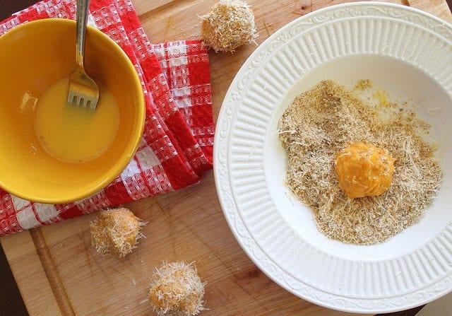 Sweet potato puffs stuffed with goat cheese