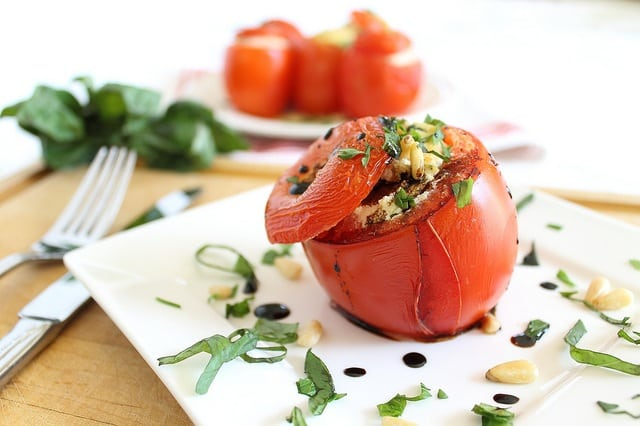 Basil cheese stuffed tomatoes