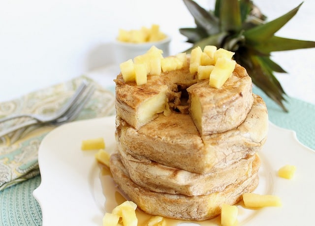 Pancake batter coats fresh pineapple rings for a fun twist on breakfast.