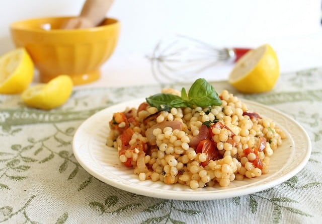Israeli couscous greek salad2