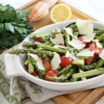 Lemony asparagus and tomato salad