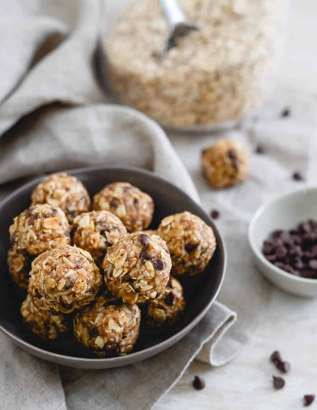 These no bake peanut butter chocolate chip balls taste just like a Reese's peanut butter cup but made with all real food. They're the perfect tasty snack when you're craving a sweet treat!