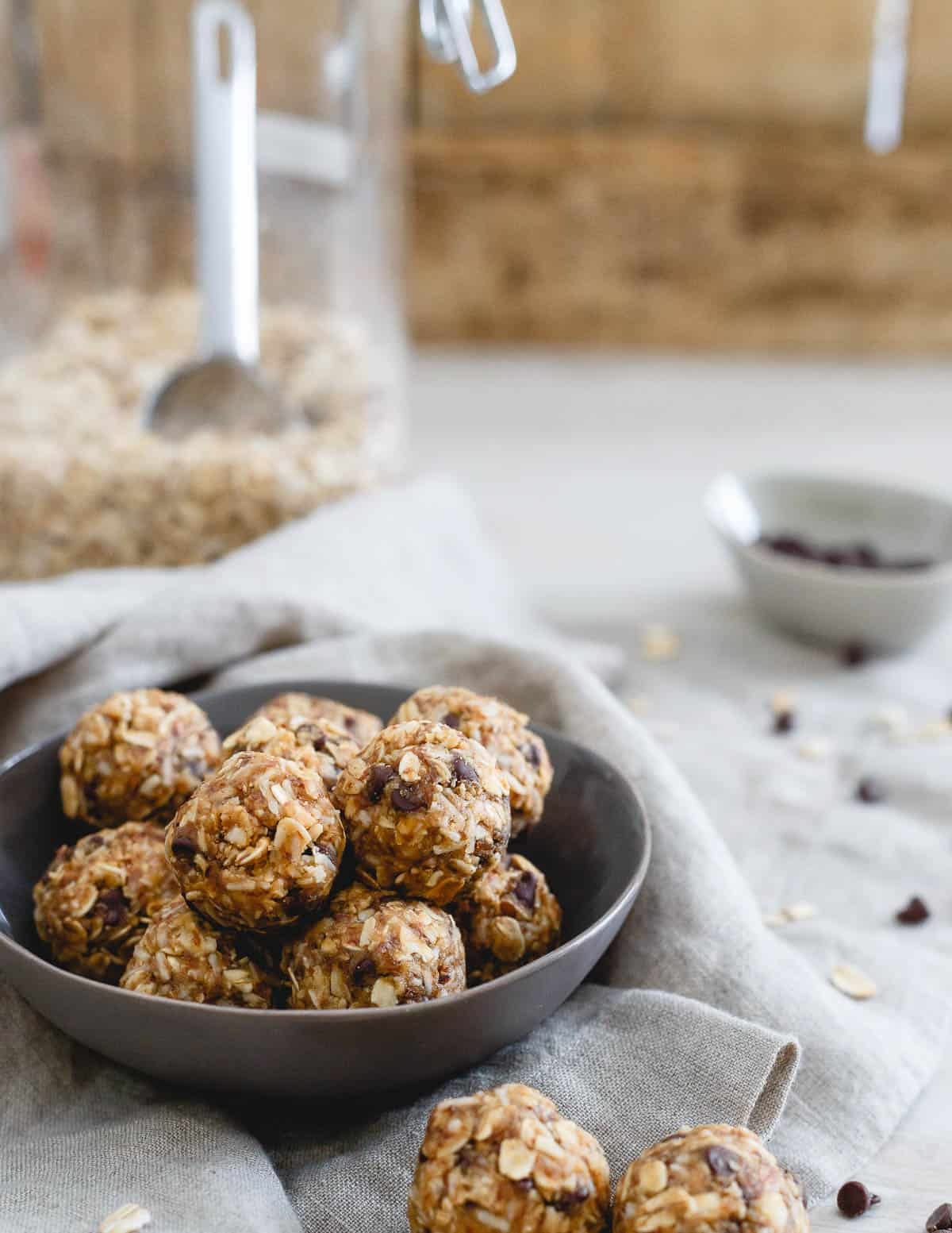 Wholesome, real food ingredients are the secret behind these tasty no bake peanut butter chocolate chip balls. Perfect for snacking or satisfying that sweet tooth!