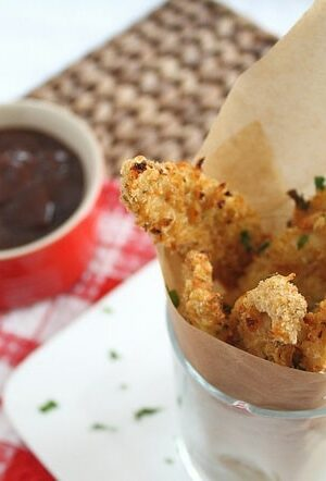 Panko cheddar crusted chicken fingers
