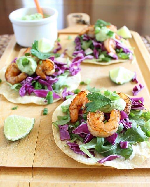 Spicy shrimp tostadas