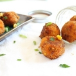 Sweet potato corn and cheddar fritters