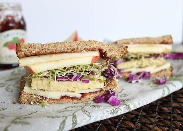 Tempeh vegetarian sandwich