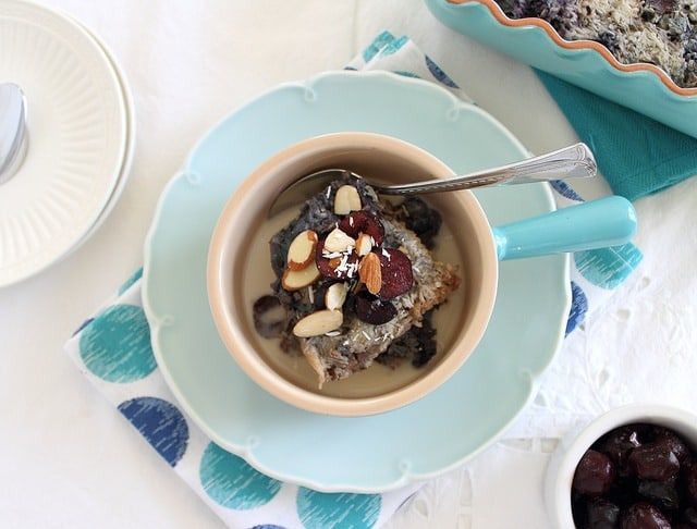 Baked steel cut oats with cherries and almonds