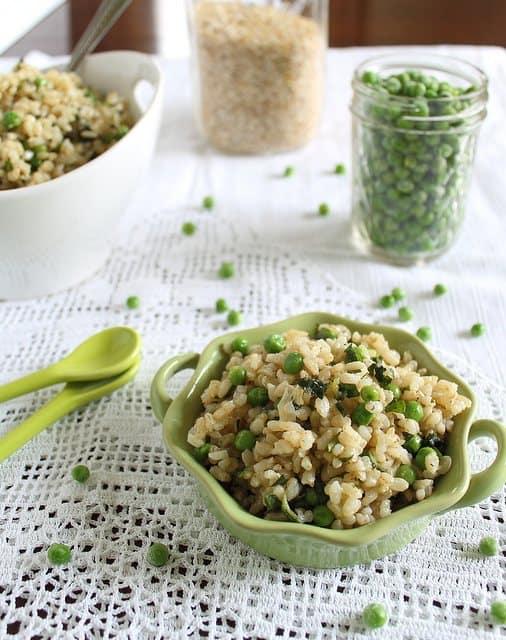 Basil brown rice with lemon