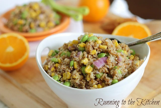 This bulgar wheat salad makes a delicious, high protein meal. Dressed with a sweet orange and tangy dijon mustard dressing, you won't put it down.