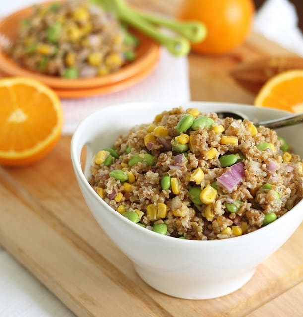 Hearty bulgar wheat and orange dijon dressing combine in this healthy salad.