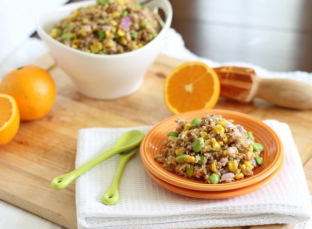 Bulgar wheat is used as a base in this healthy salad with fresh corn, edamame and red onion.