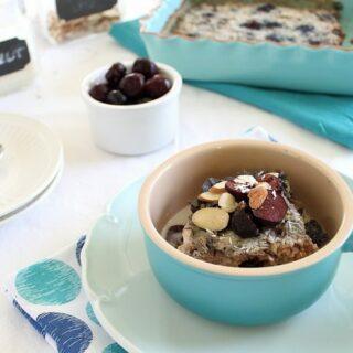 Cherry almond baked steel cut oats