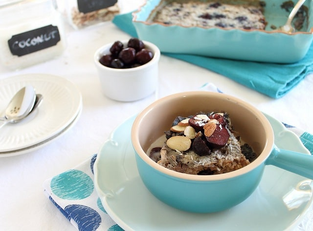Cherry almond baked steel cut oats
