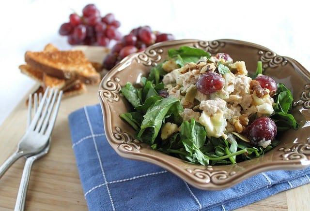 Healthy tuna waldorf salad