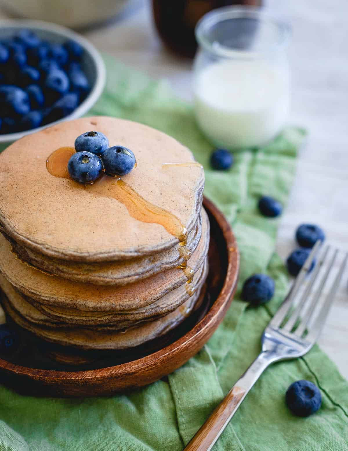These perfect protein pancakes have 30g of protein per serving and are the perfect blank slate to top however you want for a healthy start to your day.