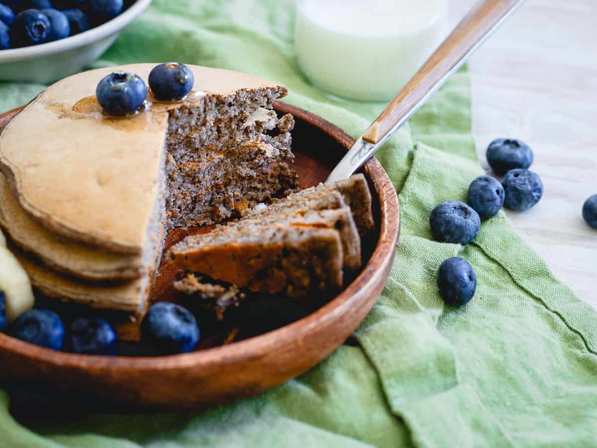 Top these perfect protein pancakes with a little fruit and maple syrup for sweetness and you've got a great, complete meal filled with 30g of protein!
