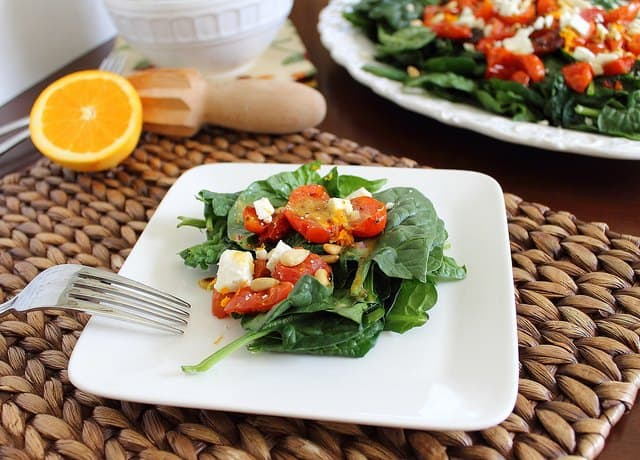 Roasted tomato and spinach salad with citrus mustard vinaigrette