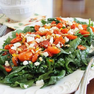 Roasted tomato spinach salad
