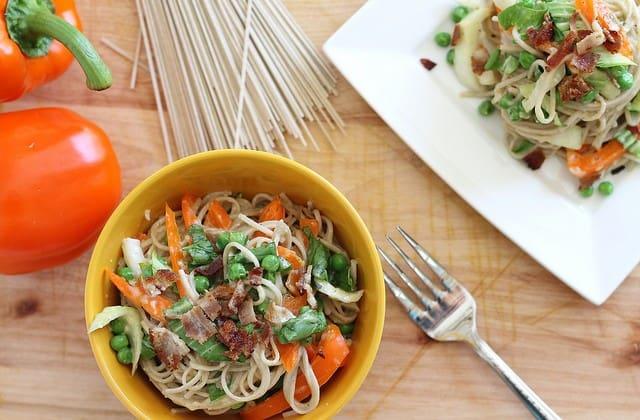 Soba noodle carbonara with vegetables