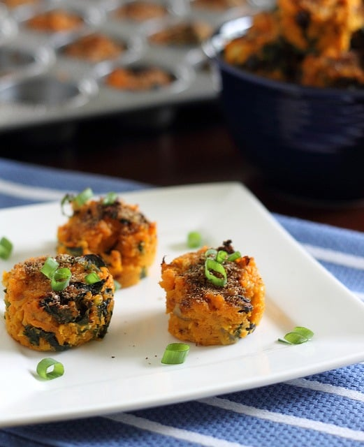 Sweet potato bites with kale and black beans