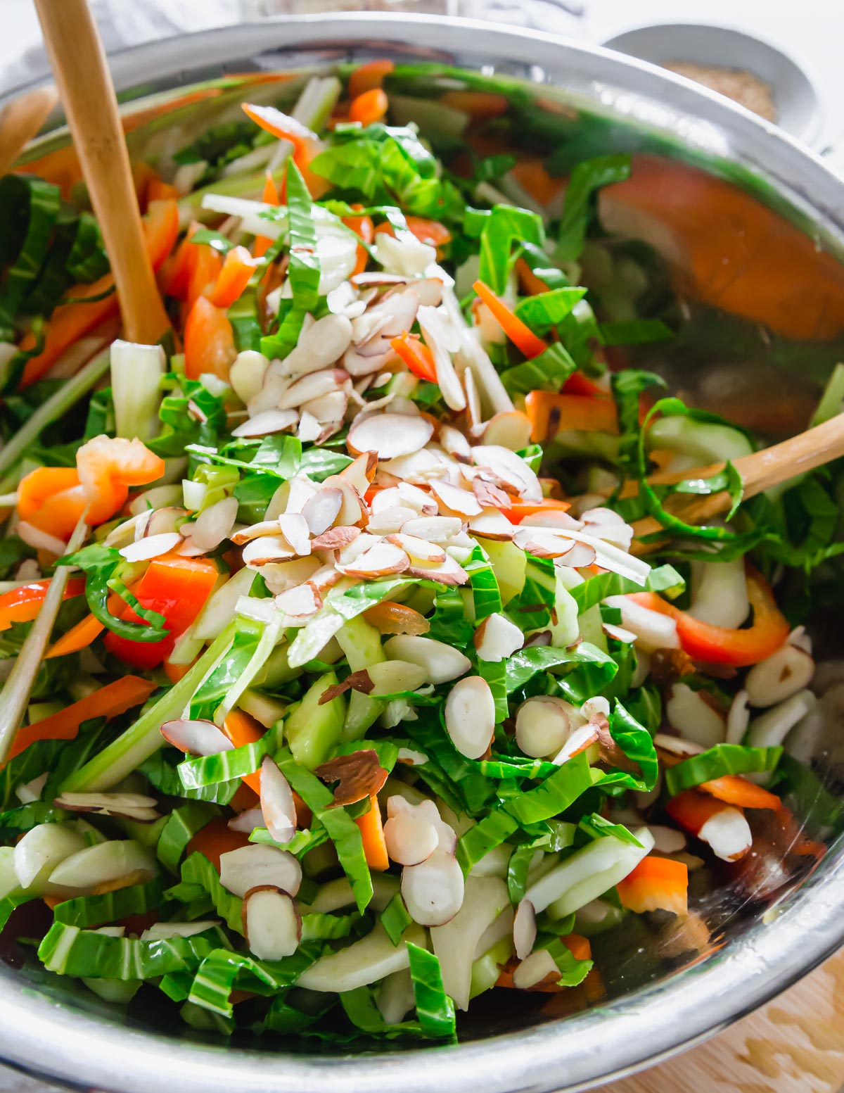Sliced almonds top this baby bok choy salad for some extra crunch and flavor.