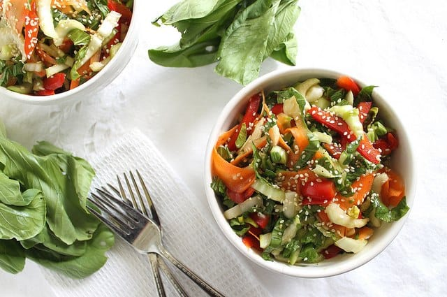 Baby bok choy salad with sesame soy sauce is a healthy, crunchy and refreshing light meal or side.
