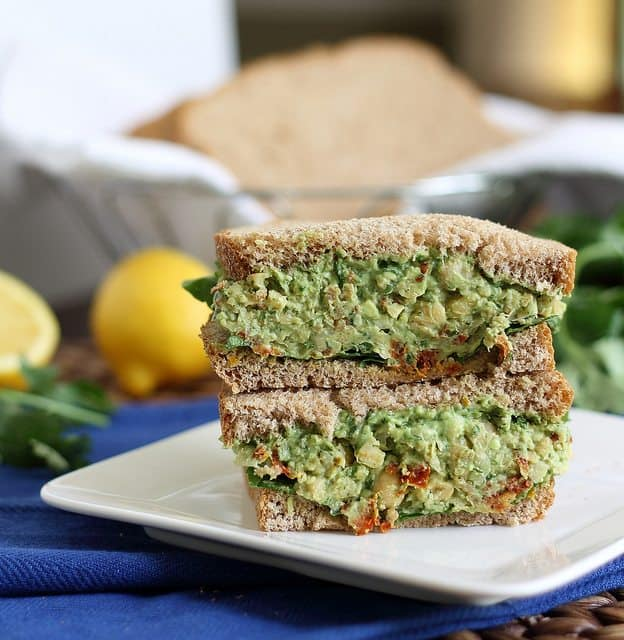 A vegetarian mashed chickpea and pesto sandwich makes an easy lunch or light dinner.