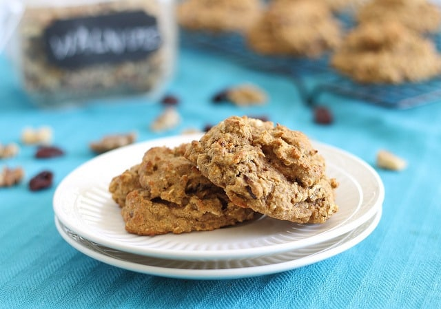 These almond cherry protein cookies are made with almond butter, coconut flour, almond flour, oats and loaded with cherries for a healthy treat.